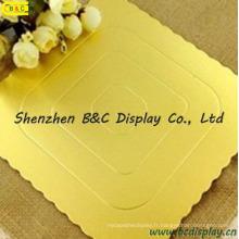 Forme carrée avec des conseils de gâteau enveloppés par fleur de double or avec des GV (B & C-K056)