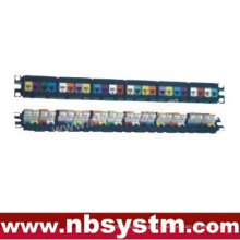 "24 portas UTP Cat5e Patch Panel 19 ""1U, com 24pcs UTP Cat.5e Keystone Jacks"