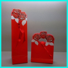Factory professional customized red rose silk ribbon disposable PP frosted plastic wedding sweet gift boxes for candy