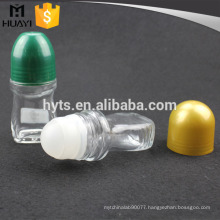 empty 50ml glass deodorant container with plastic roll ball