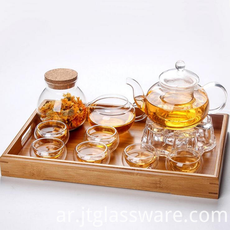600ml glass teapot with warmer