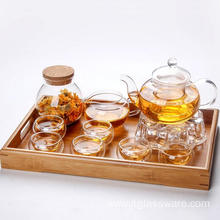 borosilicate glass teapot warmer set for office