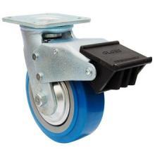 Roulette PU Swive avec double frein (bleu)