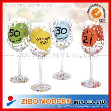 Vidrio de vino de alta calidad con la impresión
