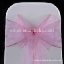 wholesale hot selling chair hood/ bubble gum pink organza chair sash/chair sash for wedding banquet hotel