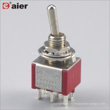 Interrupteur à bascule MTS 202 6MM 6A à double pôle ON-ON