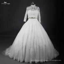 RSW822 China Factory Custom Made Saudi Arabian Dubai Lace Ball Gown Muslim Bridal Wedding Dress