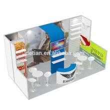 Detian Offer cabina de diseño de stands de exhibición portátil con estantes