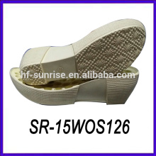 Mulheres cunha pu sapato único sapato sola fábrica madeira sapato sola