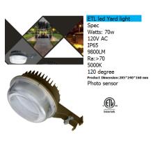 Cellule photoélectrique capteur 70w conduit yard lumière 9800lm