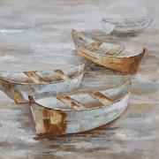 Classic Seascape Boats Oljemålning