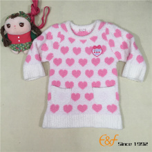 Heart Design Knitted Sweater with Embroidery Patch