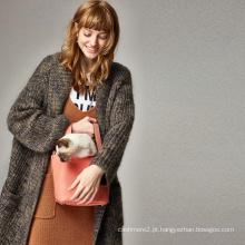Venda Por Atacado Moda Mohair de lã de malha de manga comprida Mulheres Casaco longo casaco de casaco