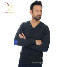 Suéter de punto de lana fina merino de cuello en V de alta calidad para hombres