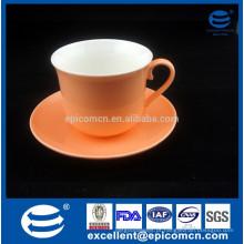 Graça chá ware placas, graça chá vasos de chá de mercadorias, graça chá mercadorias, brilhante cor laranja glazed osso novo China xícara de café