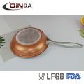TV promotion cuivre revêtement céramique électrique poêle / poêle avec poignée en fonte d'acier