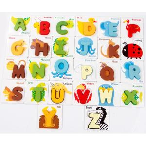 Wooden Aninal Alphabet Puzzle Toys