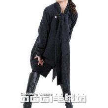 Moderna malha cashmere casual cardigen com lenço
