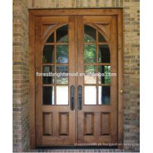 Porta de madeira de cinzeladura de madeira maciça de Malásia do projeto da porta da Índia com vidro