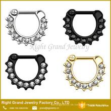 Kundengebundener Größen-Silber-Goldschwarz überzogener Kristall gepflasterte Nasenring-Körper-Schmucksachen