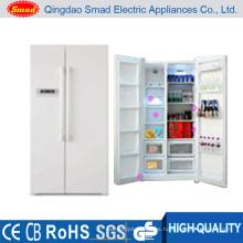 Refrigerador congelador comercial de dos puertas verticales con dispensador de hielo, dispensador de agua y minibar