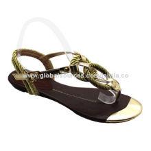 Hot Sale Fashionable Women's Flat Sandals, Weave Stripe, Shining Color