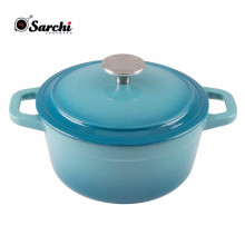 Round Gradient Blue Cast Iron Dutch Oven