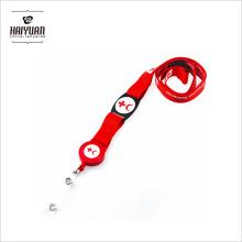 Cordon de cou et cordon en polyester rouge / avec bobine de badge pour téléphones, appareils photo, USB, clés, porte-bagages Lanyard