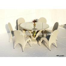 6 Seater práctico balcón mesa de restaurante oval y silla