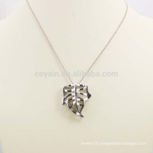 Shiny Silver Hollow Alloy Metal Leaf Necklace