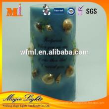 Inset Shell Handmade Pillar Candle para venda