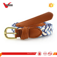 Nice fashion leather and cotton braided belt