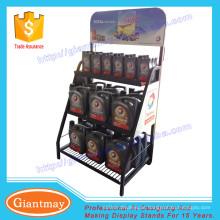 Exposição promocional cestos de metal lubrificante óleo display stand