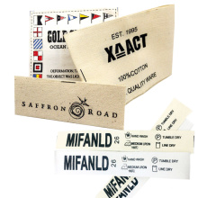 Custom Clothing Silk Screen Printed Soft Fabric Twill Wash 100% Cotton Care Labels for Baby Clothes