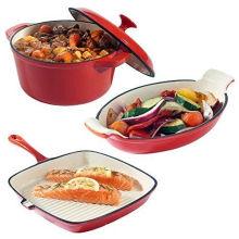 Set aus 3 Gusseisengerichten Auflauf Gratin & Griddle Set Ofen zu Tisch