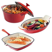 Set Of 3 Cast Iron Dishes Casserole Gratin & Griddle Set Oven To Table