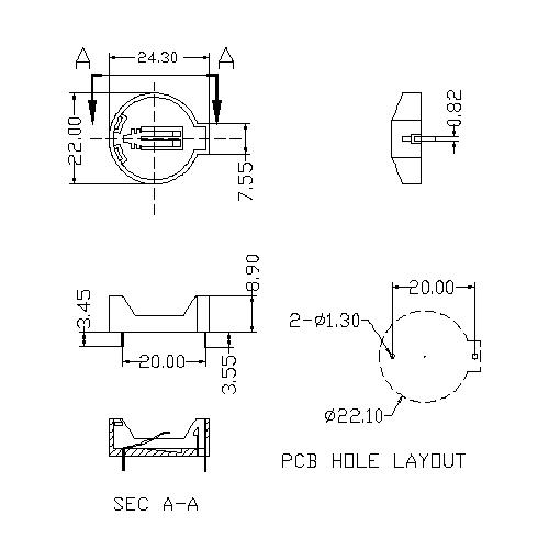 Coin Cell Holders FOR CR2032G BT-S-SN-A-CR2032G