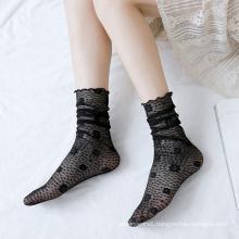 Floral Mesh Fishnet Thin Lace Socks Ladies Cotton Ankle Socks
