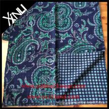 Écharpe imprimée réversible géométrique de Paisley pour les hommes dans l'écharpe de costume bleu vert d'affaires