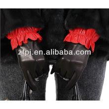 Senhoras vestido de inverno quente genuína couro cordeiro preto luvas de couro apertado
