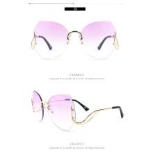 Mode Frauen Sonnenbrillen in rosa Tönung schöne Vintage Oversize randlose Brille rosa Rahmen Sonnenbrille