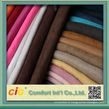 Tissu en daim 100% polyester brossé fabriqué en Chine