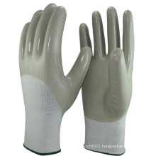 NMSAFETY cheap mechanical 3/4 coated nitrile oil-proof work glove en388