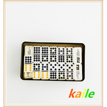 Double nine colorful domino pack in tin box
