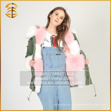 Factory Direct Supply Casual Faux Fox Jacket Women Fur Parka