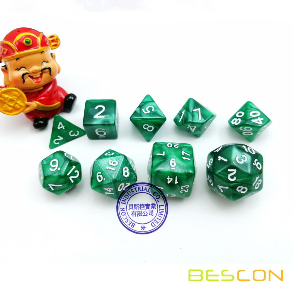 Ensemble de matrice de matrices en polyédricine 9pcs D30 D24 D20 D12 D10 D8 D6 D4 Jeu Dice Set Dungeons and Dragons DND MTG RPG Dice Marbre Vert
