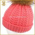 Fábrica de Abastecimento direto de lã Inverno Kids Fur Pom Bobble Hat