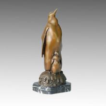 Sculpture en bronze pour animaux Pinguine Père-Son Deco Statue en laiton Tpal-070