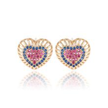25349 xuping élégantes boucles d'oreilles en zircon synthétiques en forme de cœur en or couleur