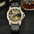 Genuine Leather Skeleton Automatic Watch for Man